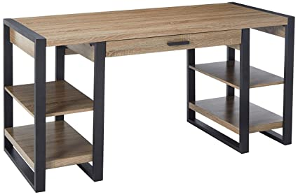 Delicieux WE Furniture 60u0026quot; Industrial Home Office Storage Desk   Driftwood