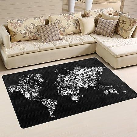 Jstel ingbags super soft modern world map musical notes black and jstel ingbags super soft modern world map musical notes black and white area rugs living room gumiabroncs Images