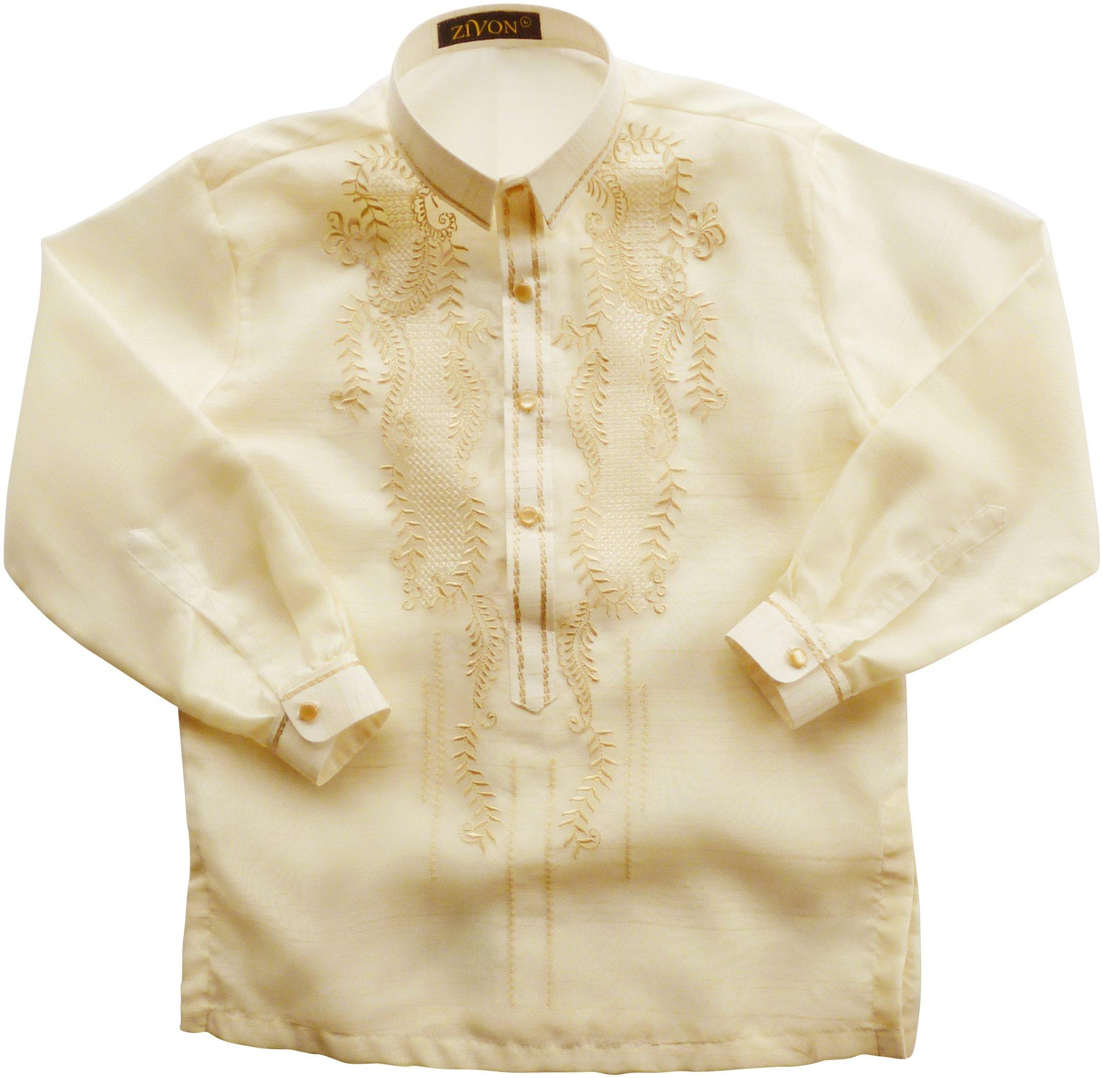 Zivon BOB001 Barong Tagalog for Boys Filipino Dress Shirt with Lining (Kids Size Large) by Zivon