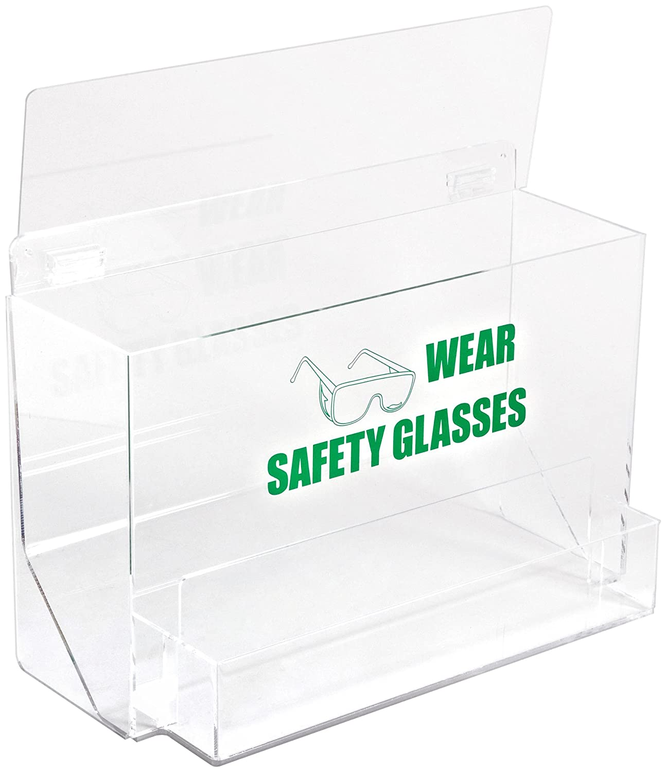 Legend Wear Safety Glasses Tough Acrylic Green On Clear Color Large Capacity Eye Protection Dispenser 18 Width 9-1//4 Depth 18 Width 9-1//4 Depth Legend Wear Safety Glasses With Picto With Picto Brady PD701E 12-1//4 Height