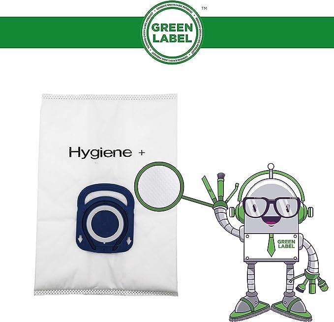 Green Label Empaque de 10 Bolsas de Alta Filtración Higiene + para Aspiradoras Rowenta Silence Force, Compact Power y X-Trem Power (Reemplaza a ZR200520): Amazon.es: Hogar