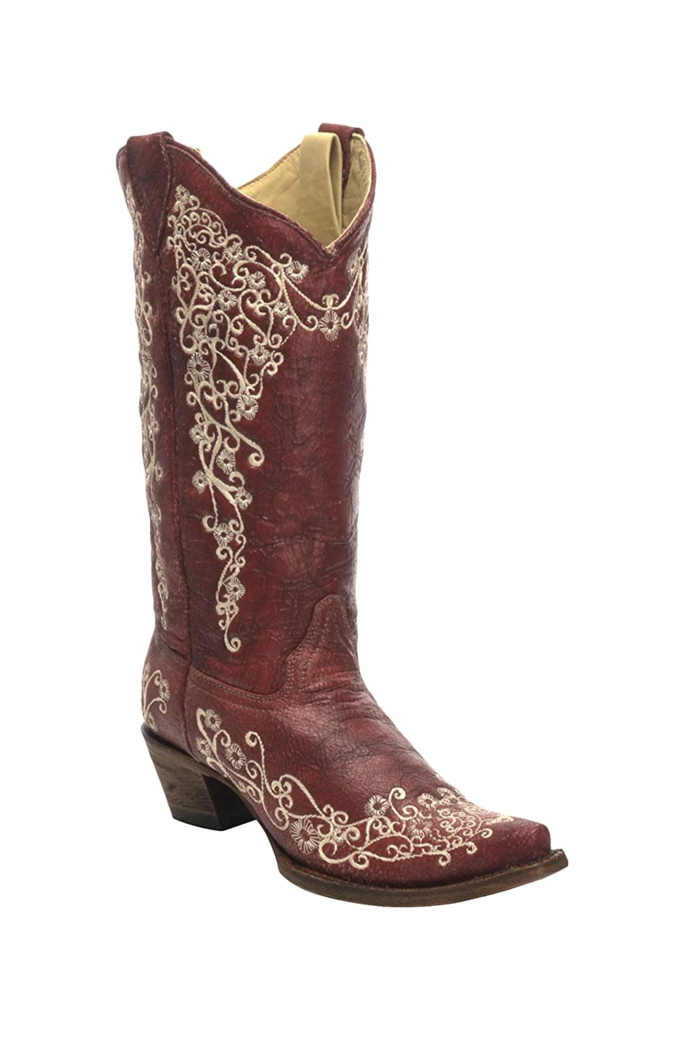 Corral Women's 11-inch Red/Beige Embroidery Snip Toe Pull-On Distressed Cowboy Boots - Sizes 5-12 B B071CPVRBY 6 B(M) US|Red