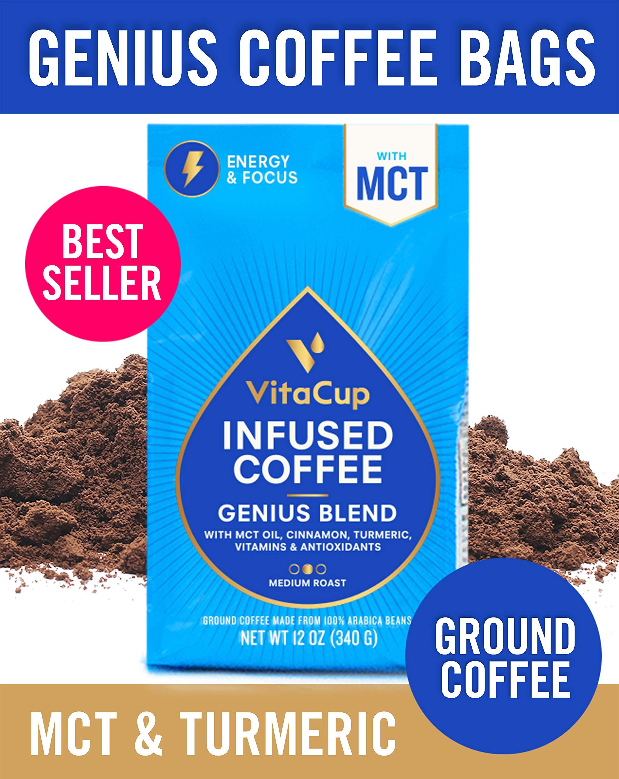 VitaCup Genius Blend Ground Coffee Bags 12oz Energy & Focus | MCT, Turmeric & Cinnamon | Keto | Paleo | Whole 30 | Vitamins B1, B5, B6, B9, B12, D3 | for Drip Coffee Brewers & French Press