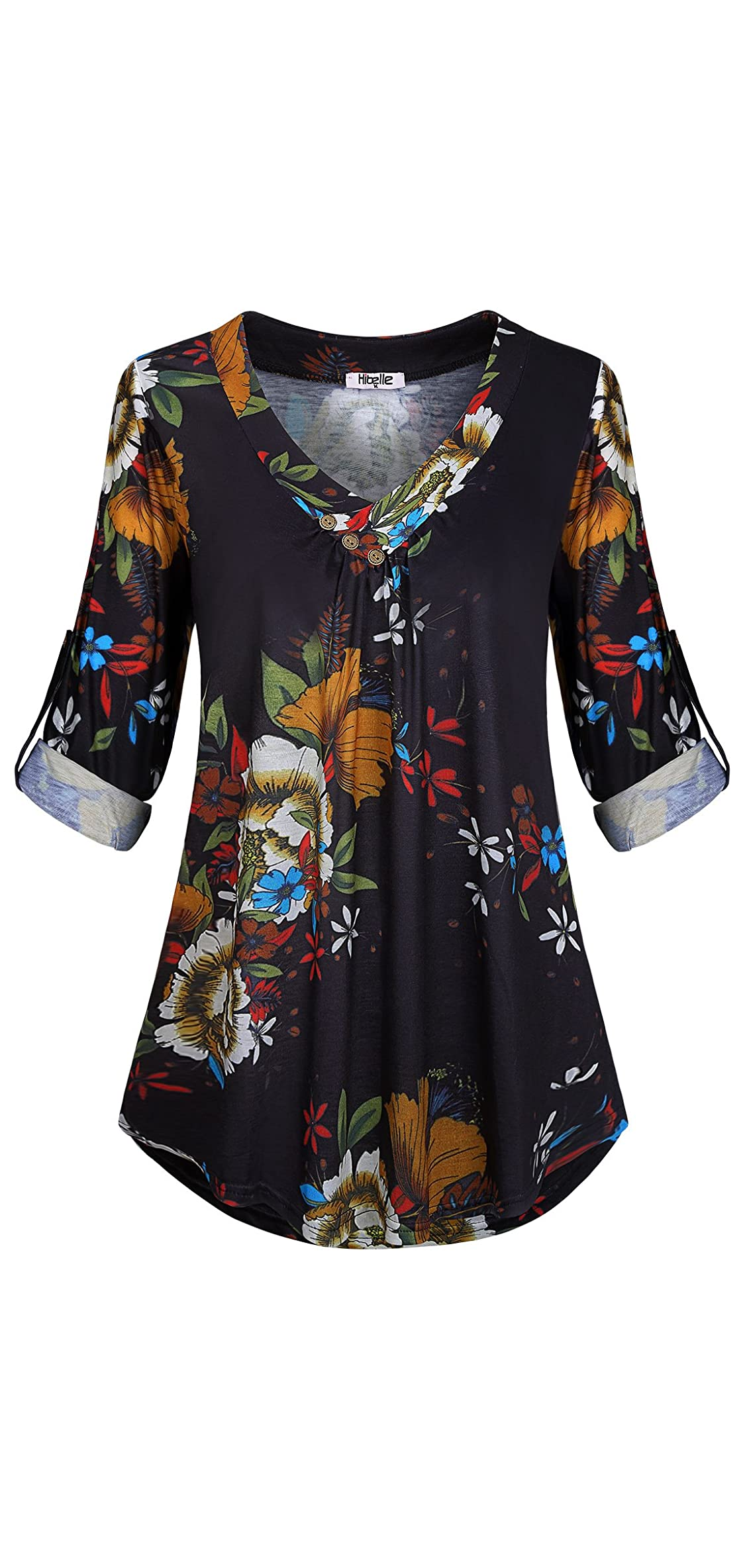 Women's Roll-up Long Sleeve V-neck Casual Flowy Tunic