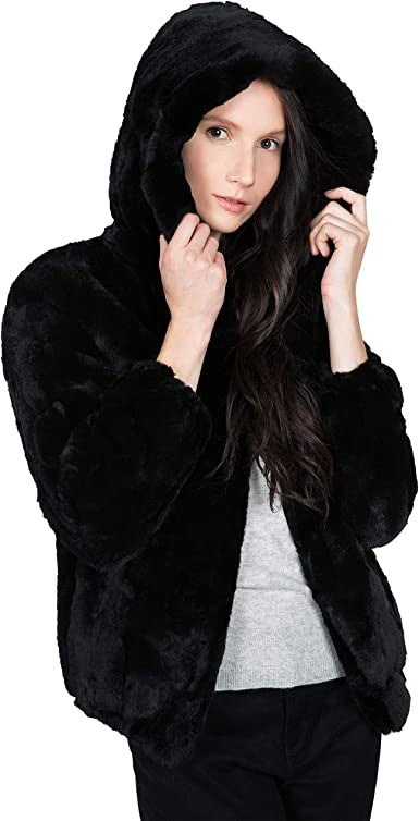Real Rabbit Fur Knitted Coat Beauty Big Warm Collar Cardigan Vtg Jackets Outwear