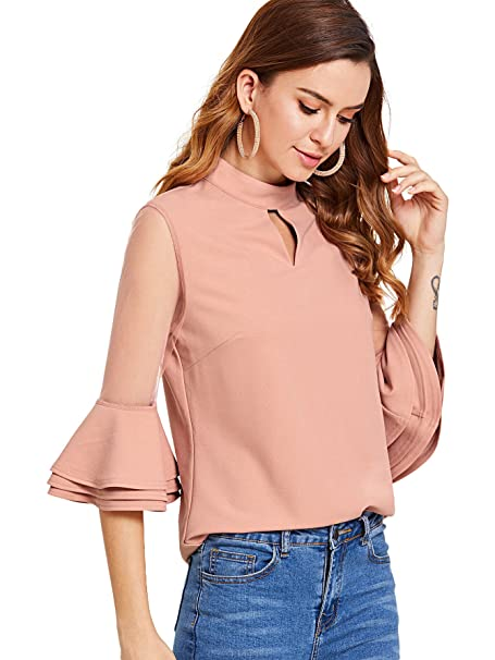82cdc7880 Milumia Women's Mesh Insert Layered Ruffle Sleeve Blouse 3/4 Short Sleeve  Plain Casual Blouse