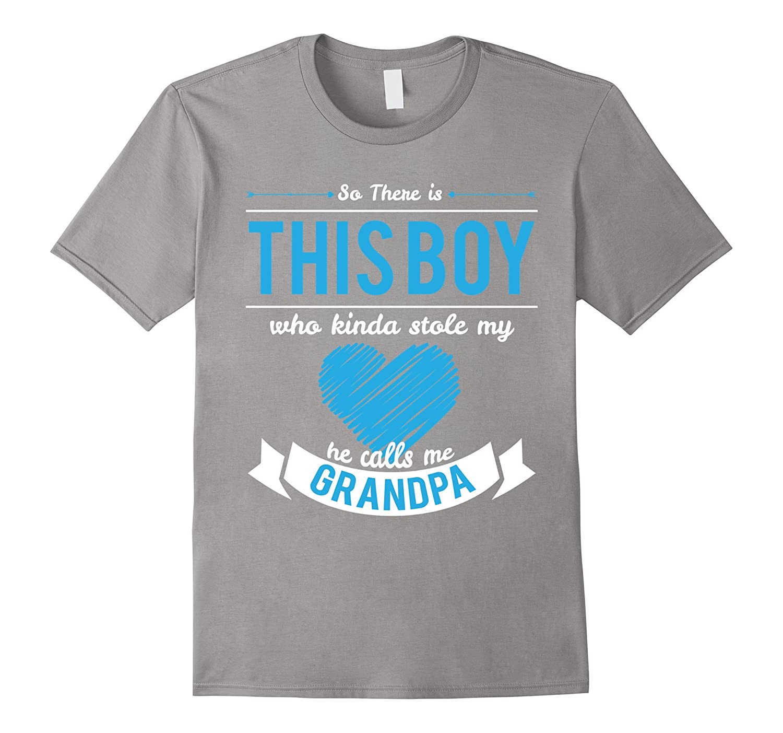 Boy Stole Grandpa's Heart Funny Grandfather T Shirt