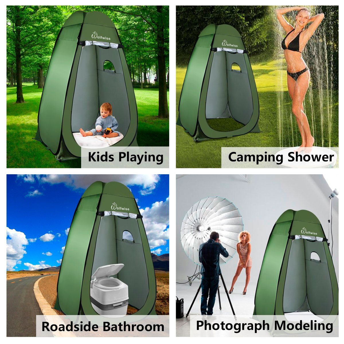 Amazoncom WolfWise Shower Tent Privacy Portable Camping Beach - Camping bathroom tent