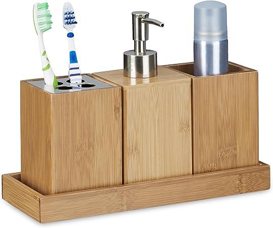 Bambus Seifenspender 4 Bürstenhalter Seifen Spender Bad Zubehör Badezimmer