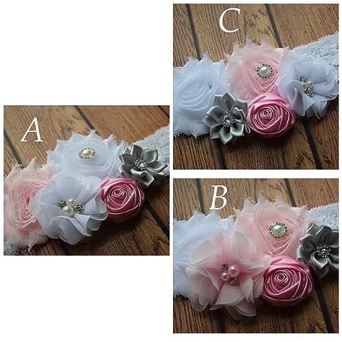 e2d9069de Amazon.com  White grey and baby pink Baby Headband