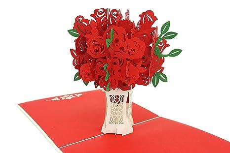 Poplife Cards Mazzo Di Rose Rosse Biglietto Di Auguri Pop Up 3d Per