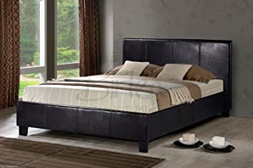 brown faux leather double bed frame 4ft6 - Double Bed Frame