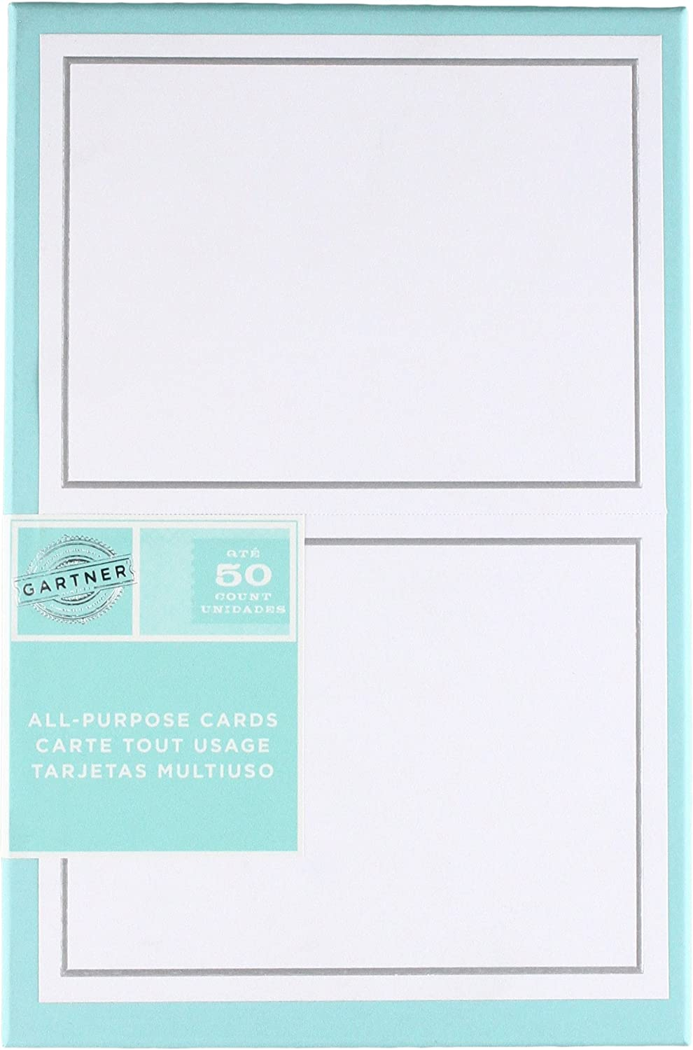 Gartner Studios Silver Foil Border All Purpose Cards, Includes Envelopes, White and Platinum, 4.25 by 5.5 Inches, 50 Count (60024)
