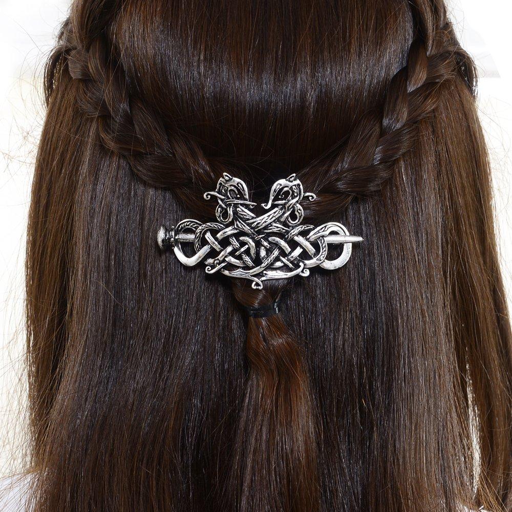 Viking Celtics Hair Accessories Hairclip-Celtic Knots Viking Hair Clip Men Vintage Antique Silver Stick Slide Hairpins Viking Jewelry Dragon Hair Decor Accessories LQQQL