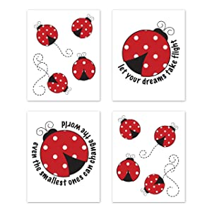 Sweet Jojo Designs Little Ladybug Wall Art Prints Room Decor for Baby, Nursery, and Kids - Set of 4 - Red, Black and White Polka Dot
