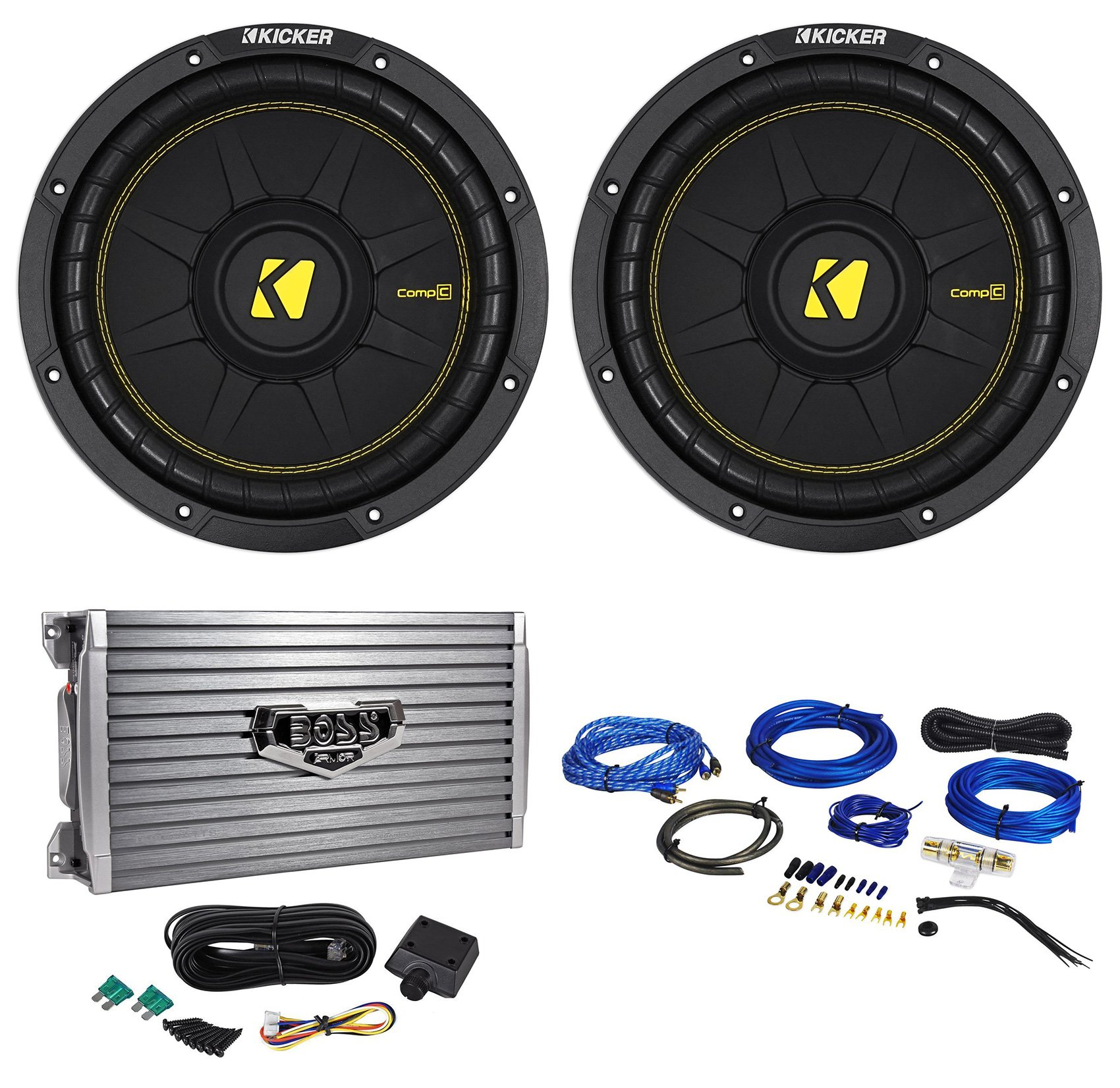(2) Kicker 44CWCD104 CompC 10'' 1000W 4-Ohm DVC Car Subwoofers+Amplifier+Wire Kit
