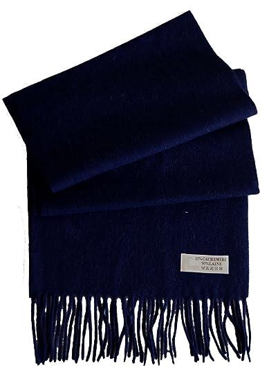 Écharpe laine et cachemire homme femme (Bleu marine)  Amazon.fr  Vêtements  et accessoires 1382e54564c