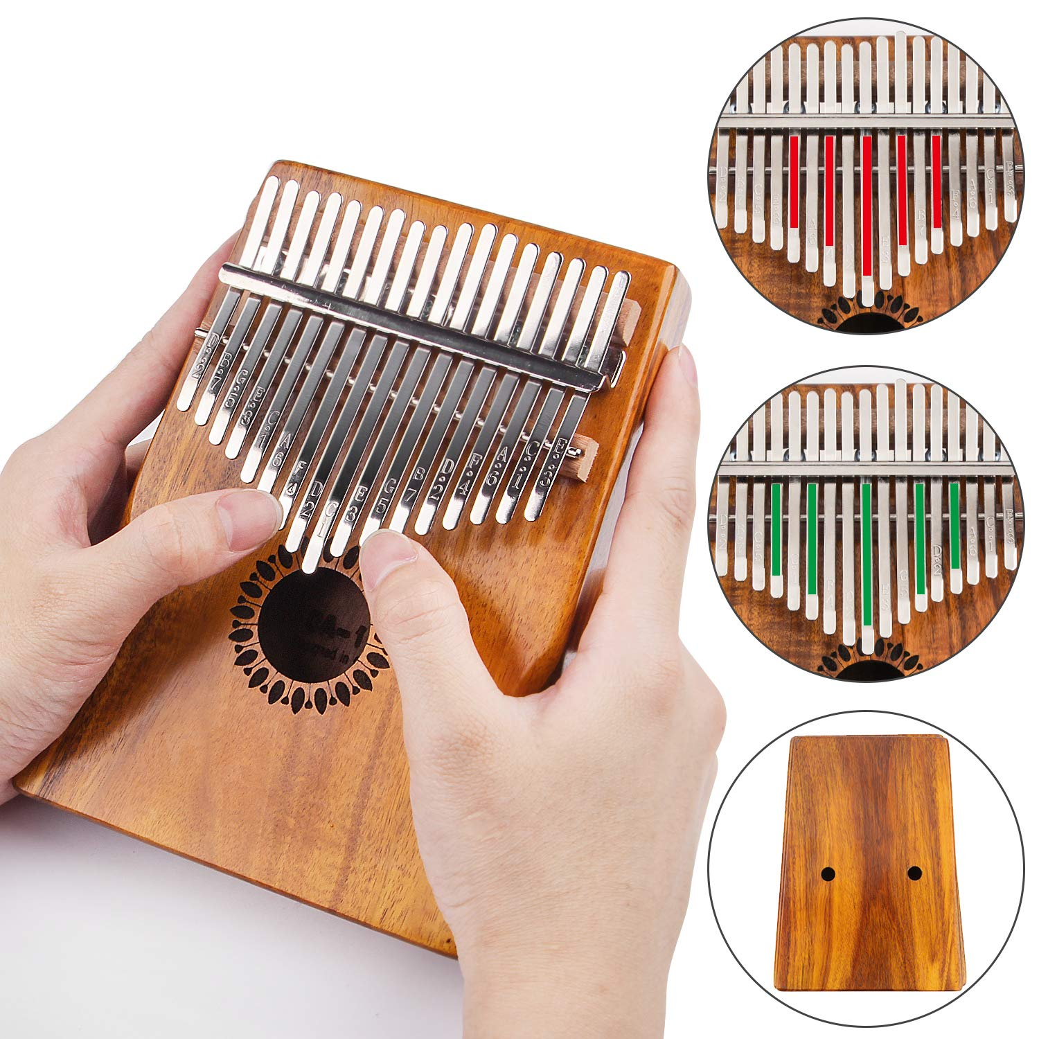 Kalimba Thumb Piano 17 Keys, Portable Mbira Finger Piano Gifts for Kids and Adults Beginners by Newlam (Image #7)
