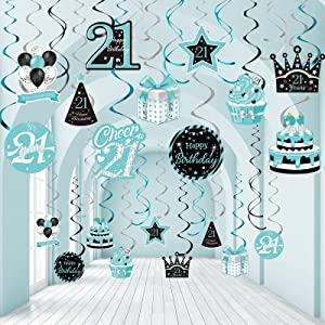 30 Pieces 21st Birthday Hanging Swirl Decorations, Happy 21st Birthday Foil Swirls Ceiling Decor Teal Silver Black Blue Turquoise Hanging Swirl for 21 Years Birthday Party Decorations Supplies