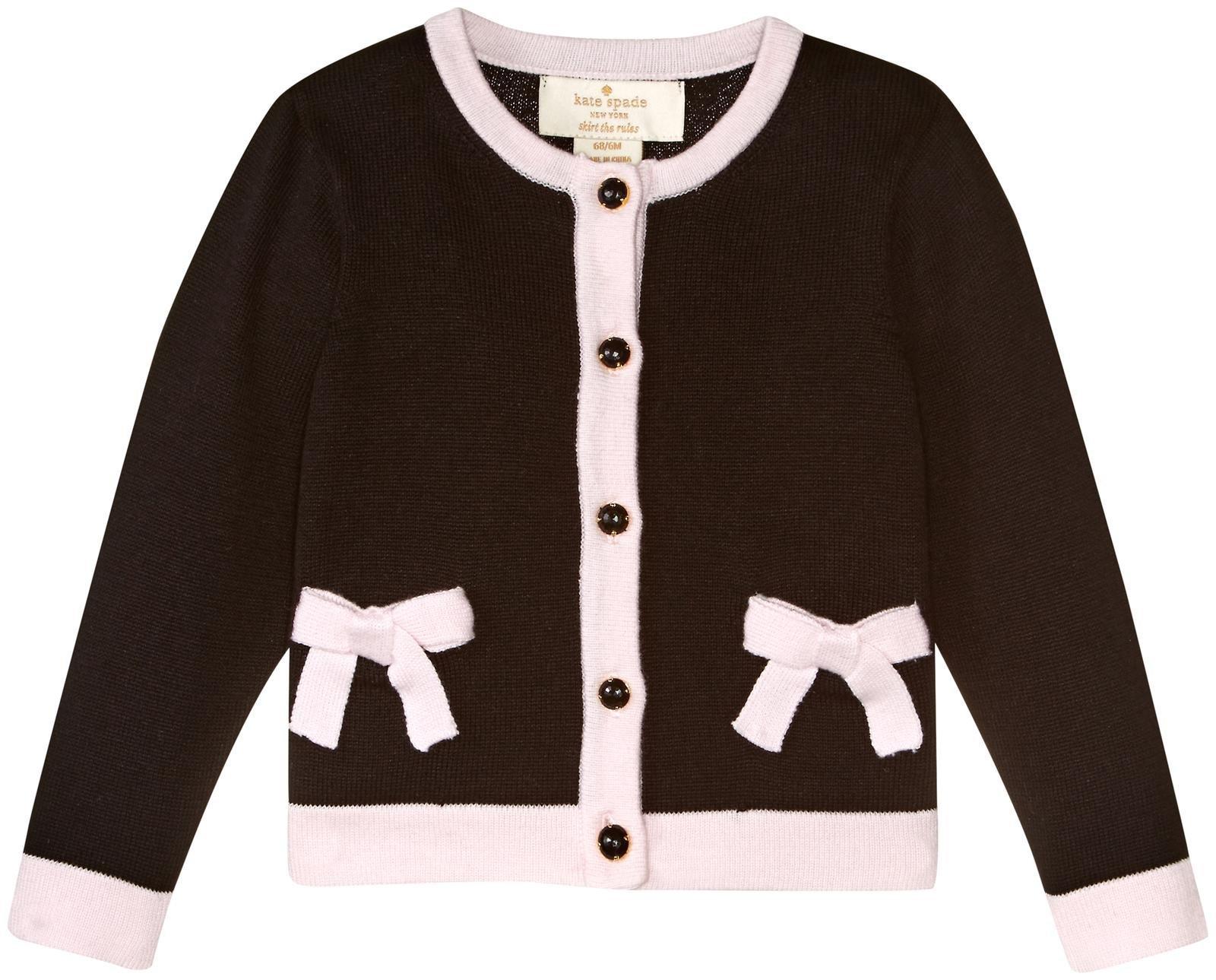 Kate Spade New York Girls' Toddlers' Pocket Cardigan, Black, 6