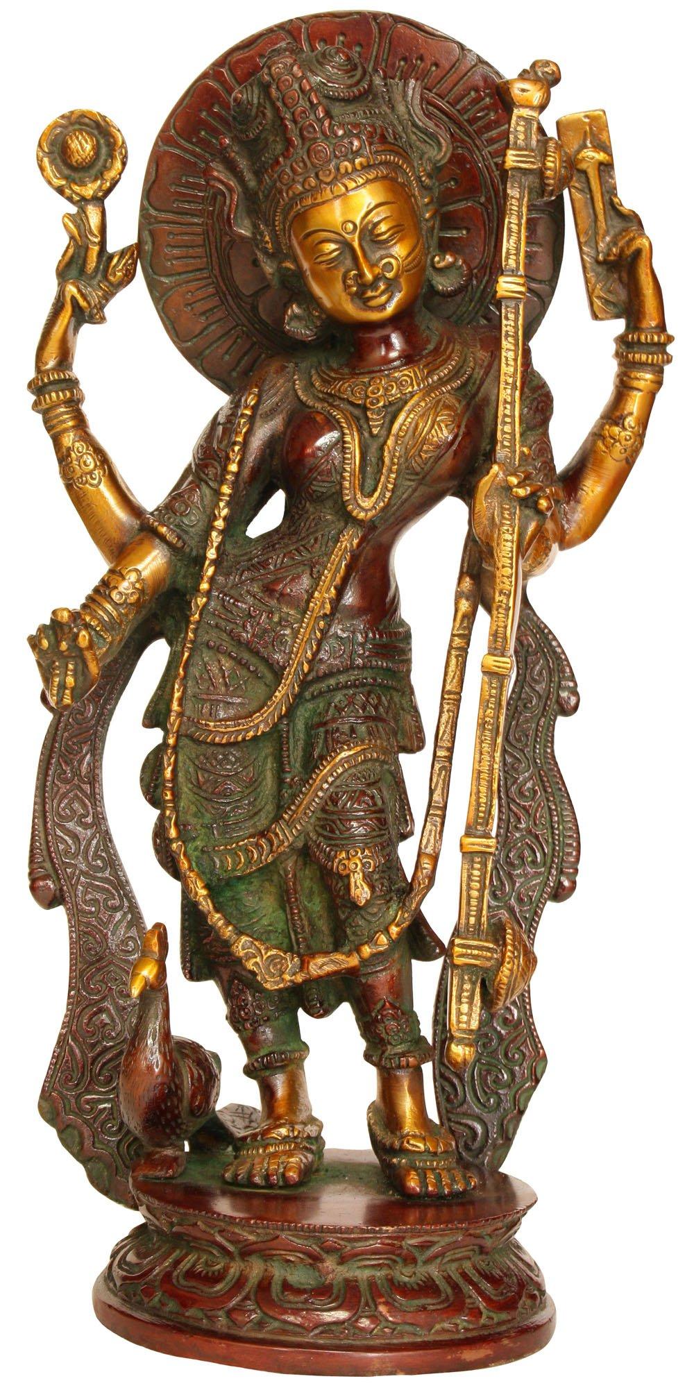 Goddess Saraswati - Brass Statue by Exotic India (Image #1)