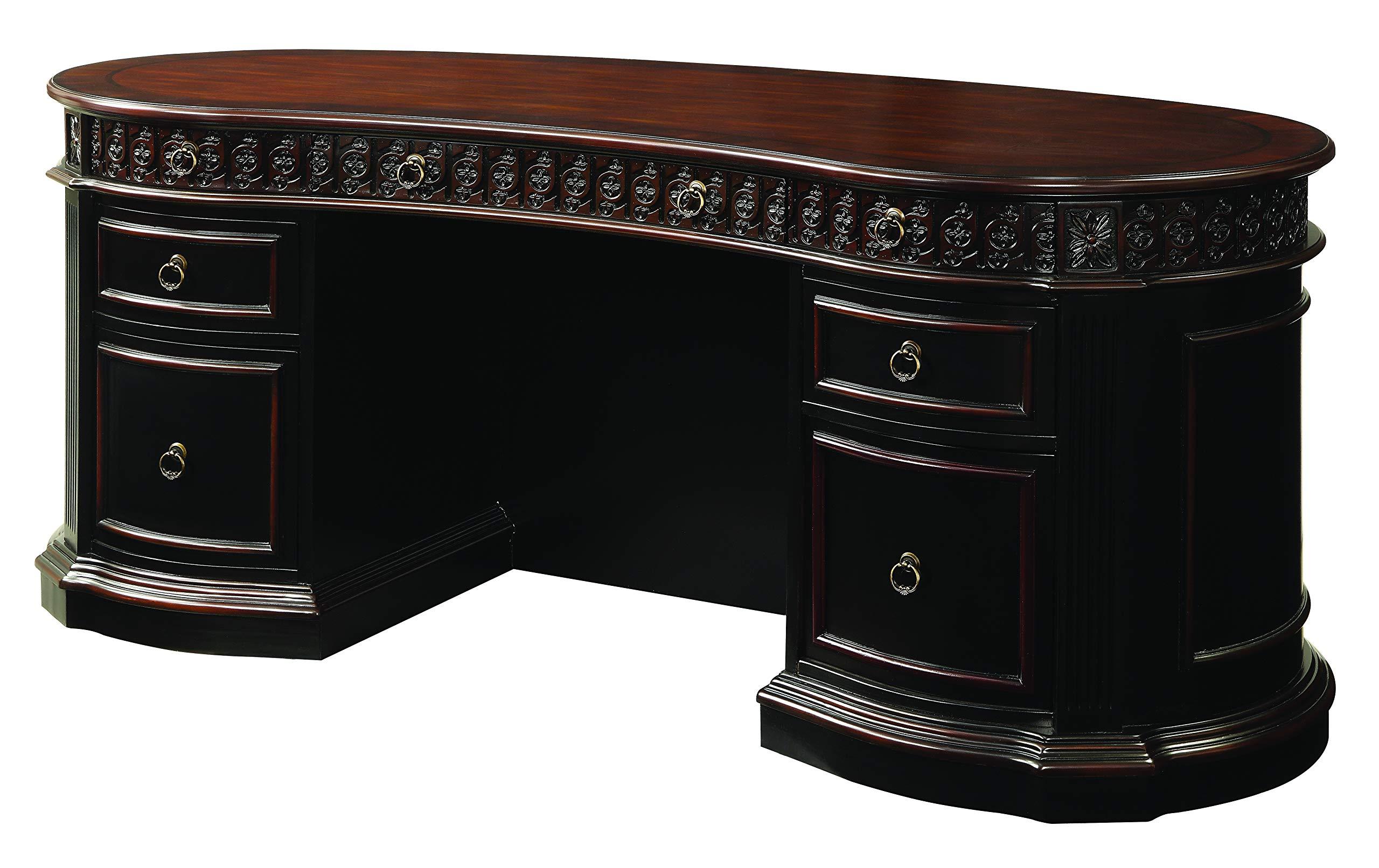 Rowan Oval Double Pedestal Executive Desk Black and Chesnut by Coaster Home Furnishings