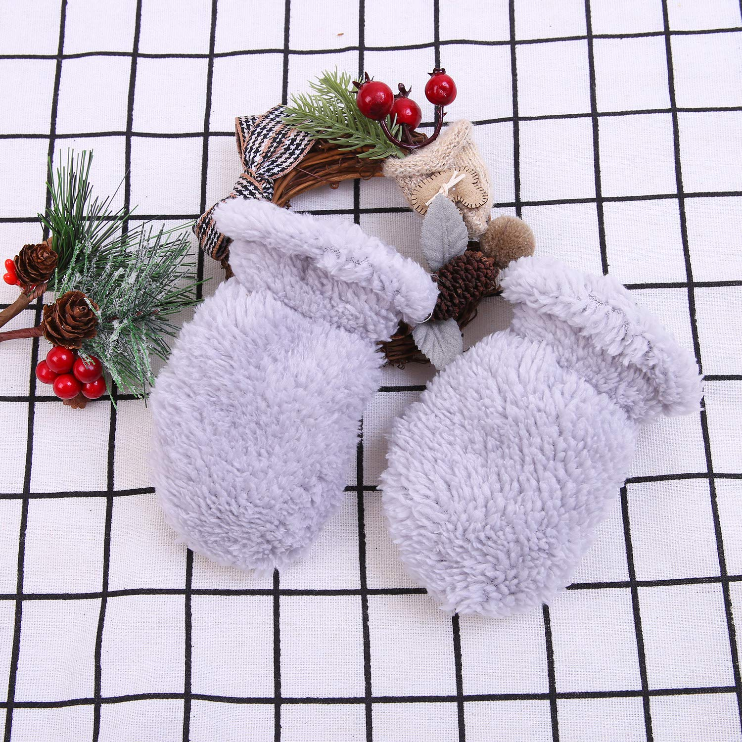 Aneco 2 Pairs Toddler Baby Mittens Warm Sherpa Lined Fleece Mittens with 2 Pack Adjustable Mitten Clips