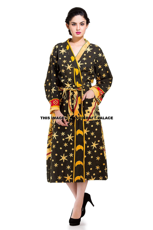 Indian Astrology Mandala Cotton Kimono Robe Hippie Bath Robe Intimate Nightwear Amazon In Home Kitchen
