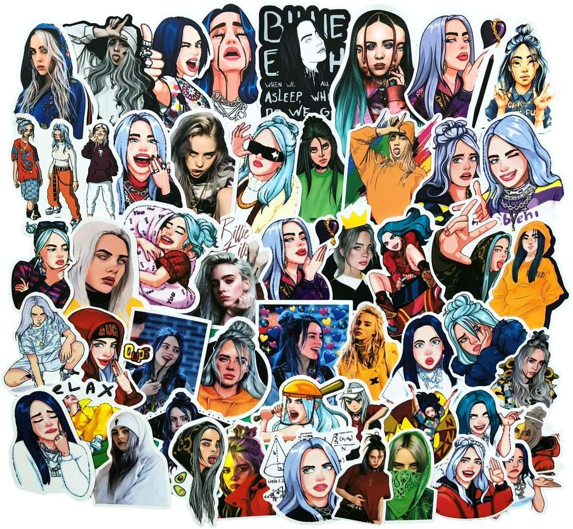 Billie Fans Stickers Pack of 50 Laptop Stickers, Pinkol Merchandise Fans Vinyl Decals for Girls Teens Trendy for Laptop Computer Water Bottle Scrapbook Car Motorcycle Skateboard Luggage Travel