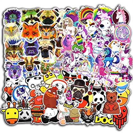 115 pcs animals and unicorn stickers for laptop car luggage bicycle motorcycle computer skateboard snowboard water