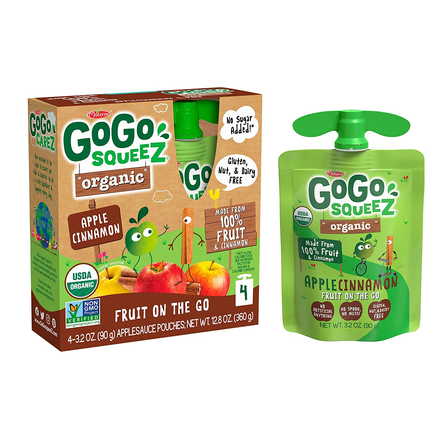 GoGo squeeZ Organic Applesauce, Apple Cinnamon, 3.2 Ounce (4 Pouches), Gluten Free, Vegan Friendly, Unsweetened Applesauce, Recloseable, BPA Free Pouches