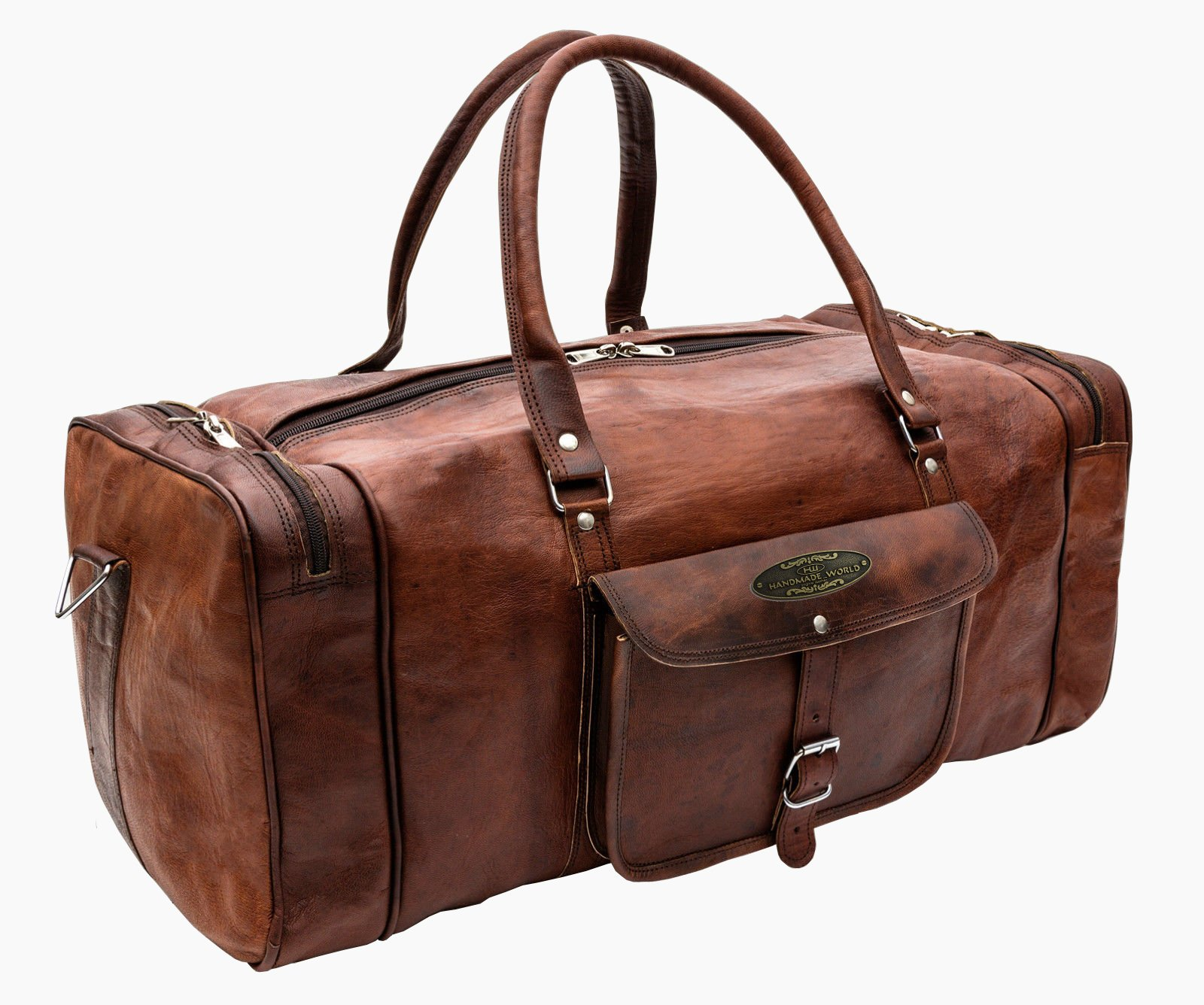 Handmade World 23'' Inch Vintage Leather Bags Luggage Duffel Large Travel Carry On Air Cabin Sports Gym Bag