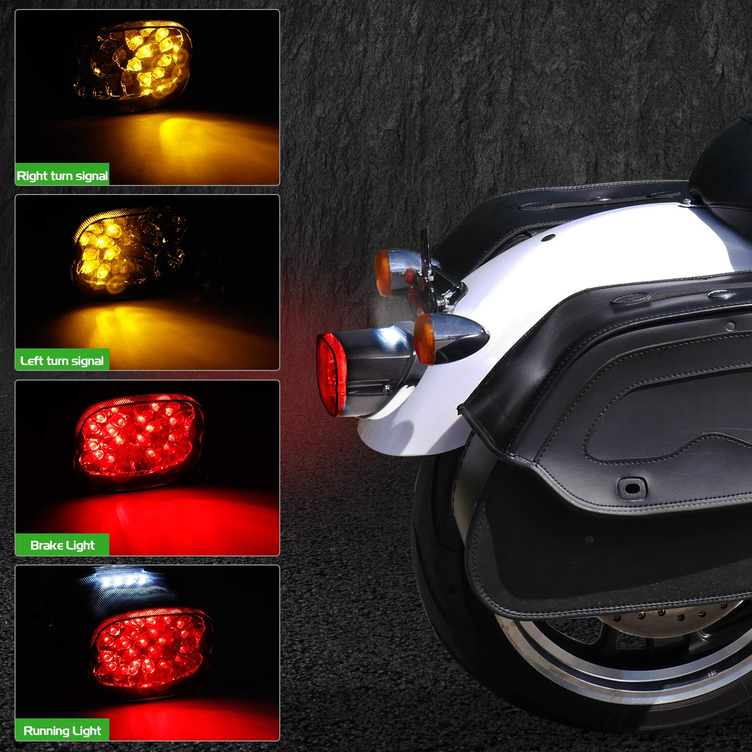 NTHREEAUTO Smoked LED Tail Light Brake Turn Signal Lights Compatible with Harley Dyna Sportster Street Bob Road King Nightster Fat Boy Low Profile Taillights