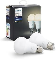 Philips Hue White E27 LED Lampe Doppelpack, dimmbar, warmweißes Licht, steuerbar via App, kompatibel mit Amazon Alexa (Echo, Echo Dot)