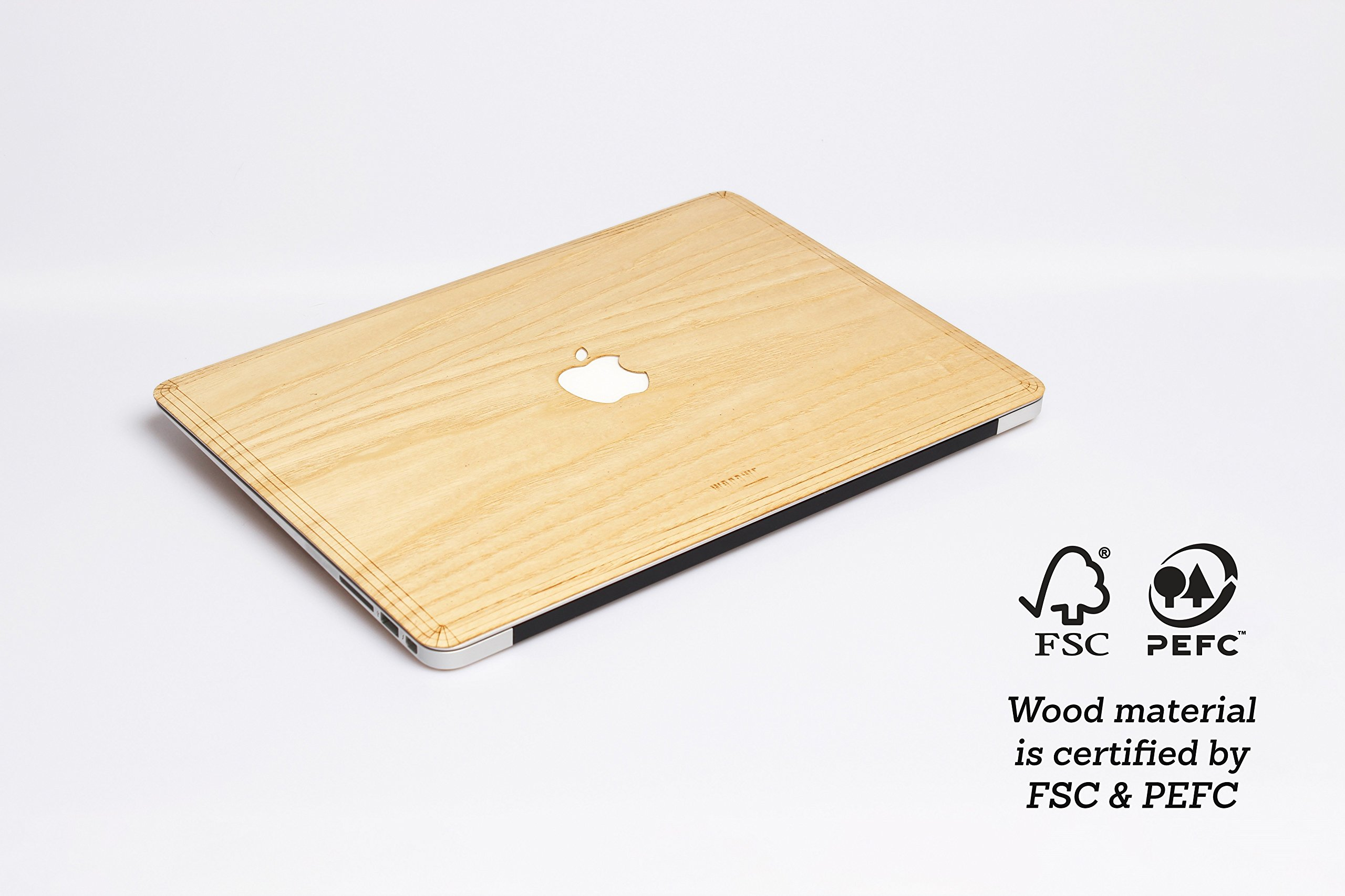 WOODWE Real Wood MacBook Skin Sticker Decal for Mac pro 15 inch Retina Display   Model: A1398; Mid 2012 – Mid 2015   Genuine & Natural ASH Wood   TOP&Bottom Cover by WOODWE (Image #3)