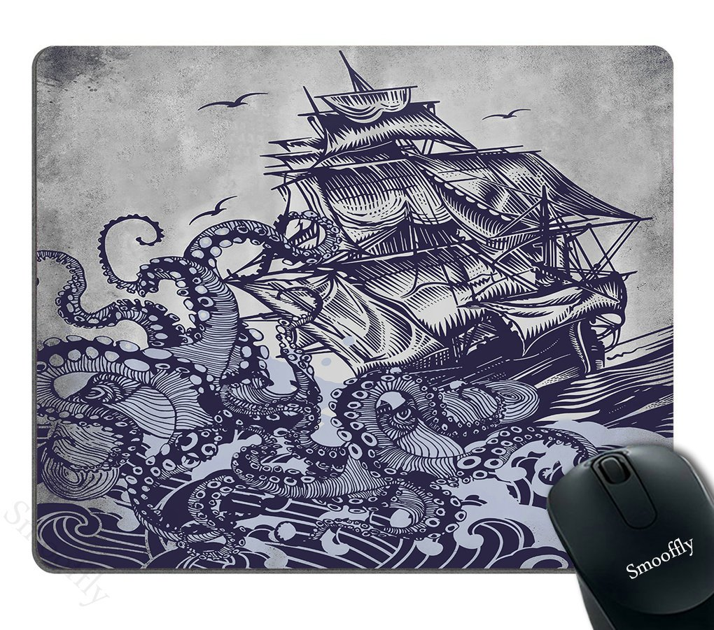Smooffly Gaming Mouse Pad Custom,Retro Vintage Vinyl Record Mouse Pad Custom Retro Nautical Anchor Personalized Design Non-Slip Rubber Mousepad