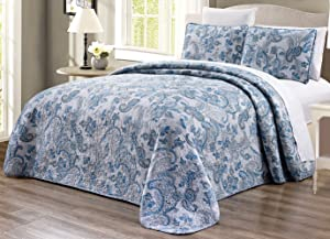 """3-Piece Oversize (115"""" X 95"""") Fine printed Prewashed Quilt Set Reversible Bedspread Coverlet KING SIZE Bed Cover (Grey, Black, White, Blue, Paisley)"""