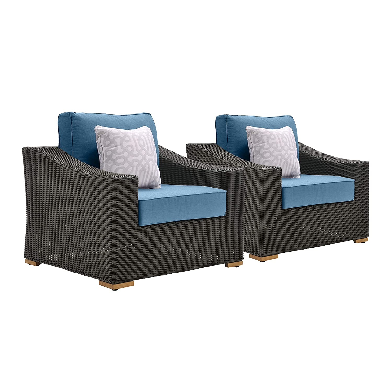 Amazon com la z boy outdoor new boston resin wicker patio furniture lounge chairs 2 pack denim blue with all weather sunbrella cushions garden