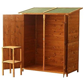 Homcom - Caseta para almacenaje en jardines (madera, doble puerta, 159 x 140 x 75 cm): Amazon.es: Jardín