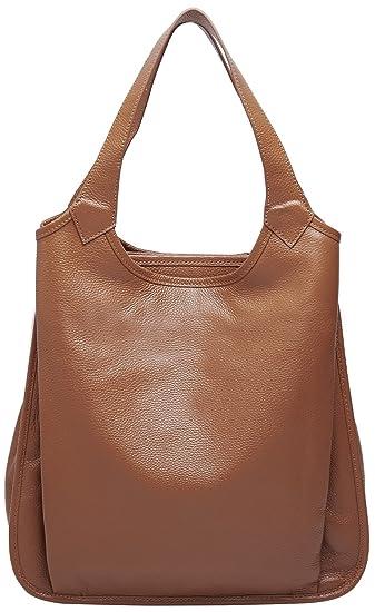 d994859a0c41 BOYATU Womens Tote Real Leather Handbag for Ladies Large Capacity Shoulder  Purse (Brown)
