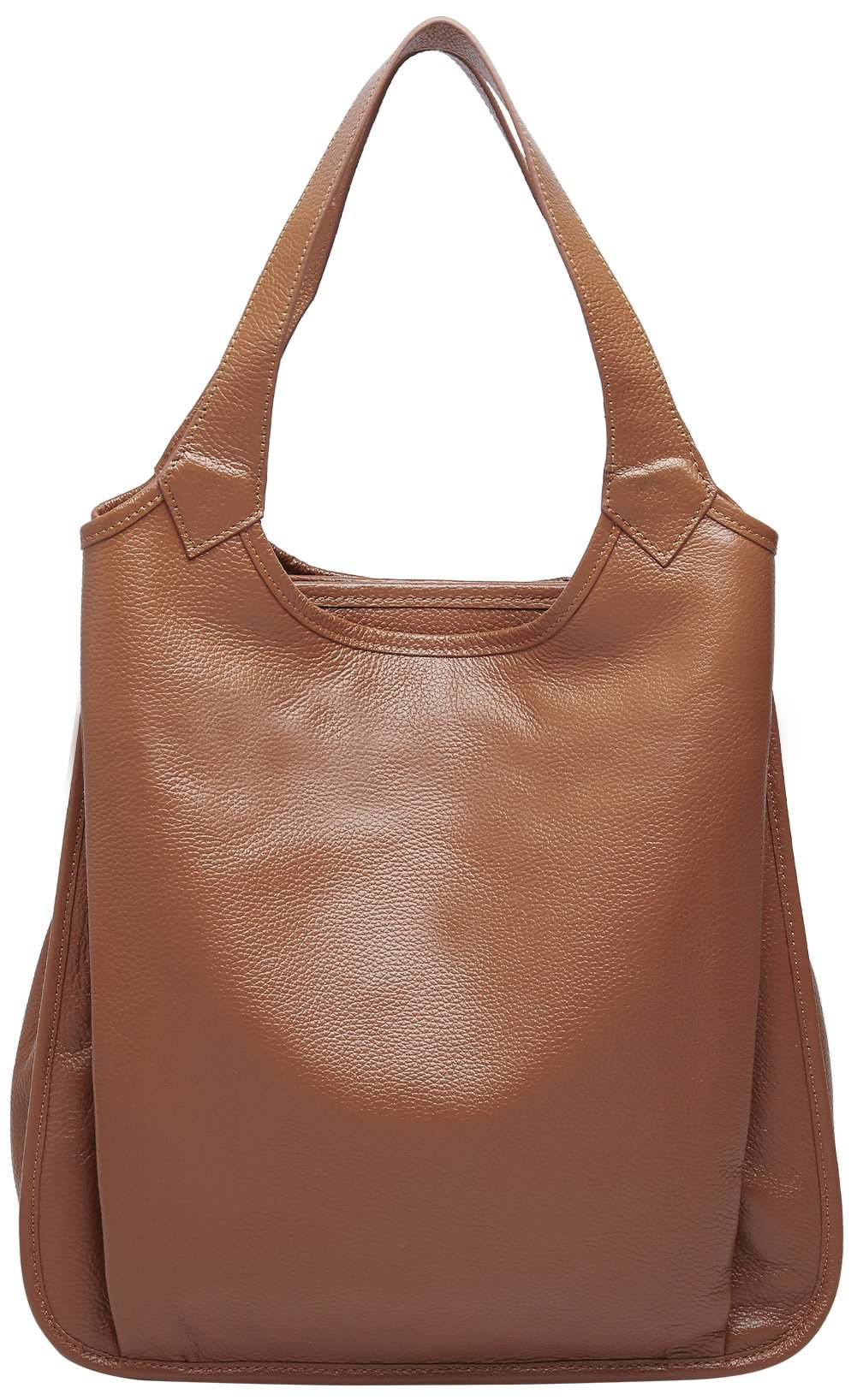 BOYATU Womens Tote Real Leather Handbag for Ladies Large Capacity Shoulder Purse (Brown)
