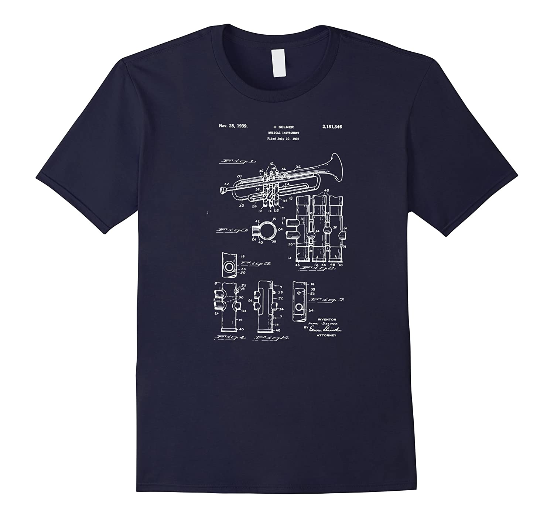 Vintage Patent Print Trumpet Player T-Shirt-T-Shirt