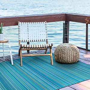 SMM006 Reversible Indoor/Outdoor Rugs-(Blue,8x10)