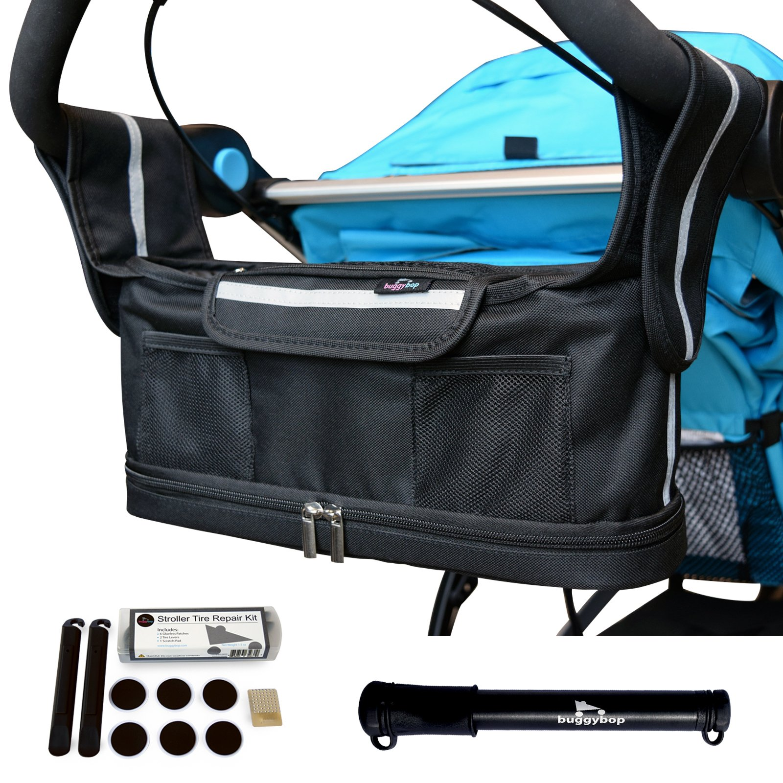 Jogging Stroller Organizer with Stroller Tire Pump & Tire Repair Kit - Universal Fit Stroller Accessory with Insulated Cup Holder