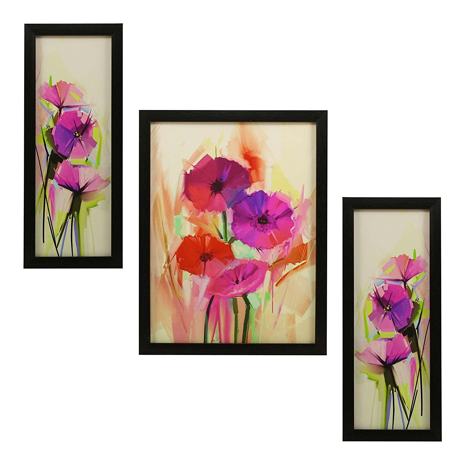 3 PC SET OF FLORAL PAINTINGS 1063 WITHOUT GLASS 5.2 X 12.5