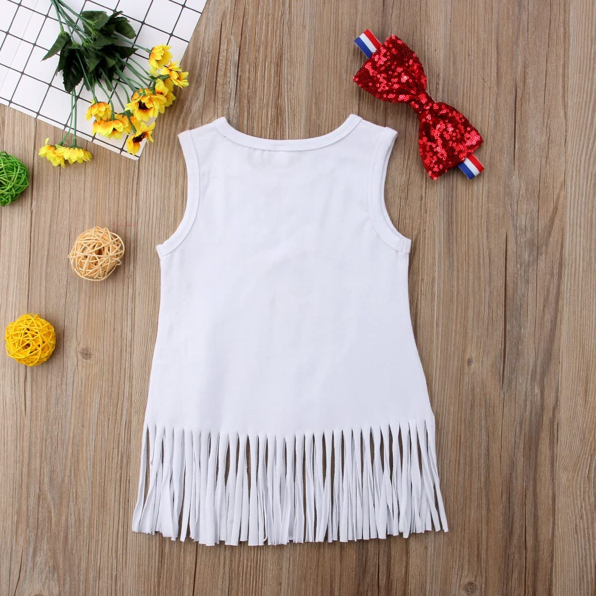 BiggerStore Baby Girls Sleeveless Tassel Freedom Top Dress with Headband 4th of July Outfit