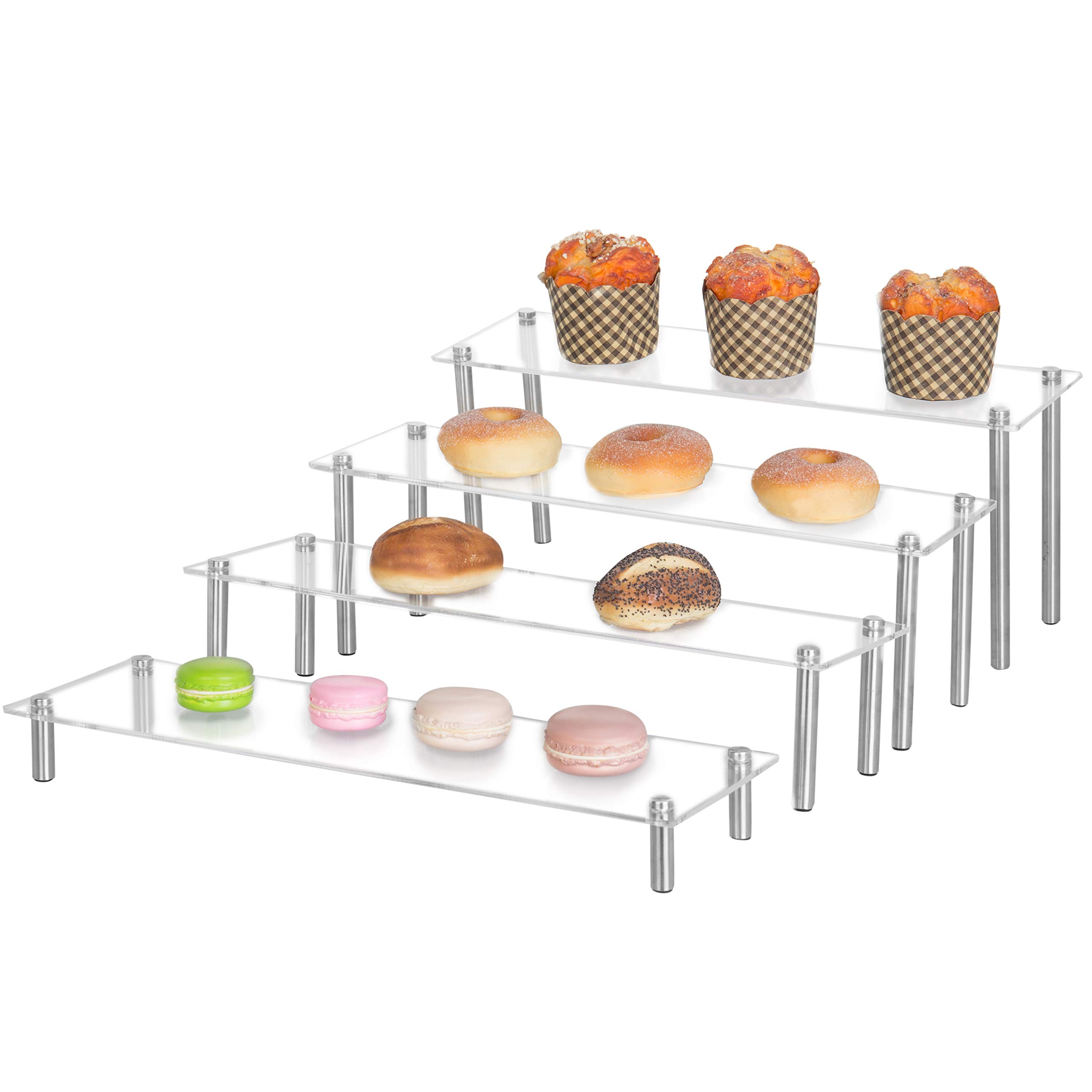 MyGift 4-Tier Rectangular Clear Acrylic Cupcake Dessert Display Stand Riser, Set of 4