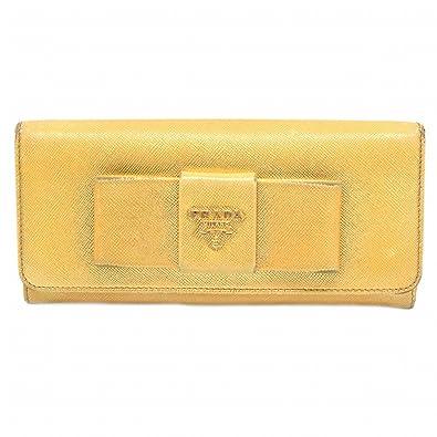 222433971e0d プラダ PRADA サフィアーノ レザー リボン モチーフ 二つ折 長財布 ファスナー ジップ 革 ゴールド ゴールド金具