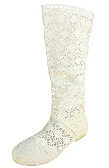 df7bf4e044af3 BABOOTS Women's Summer Beige Crochet Boots