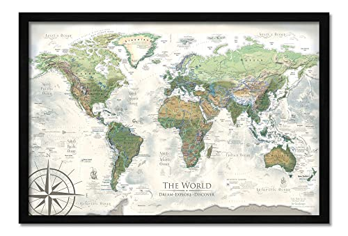 Push Pin World Map – Personalized The Nautilus World Travel Map – Created by a Professional Geographer